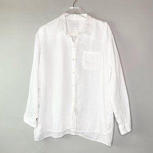 J. Jill Love Linen Button Front Shirt Sz L White
